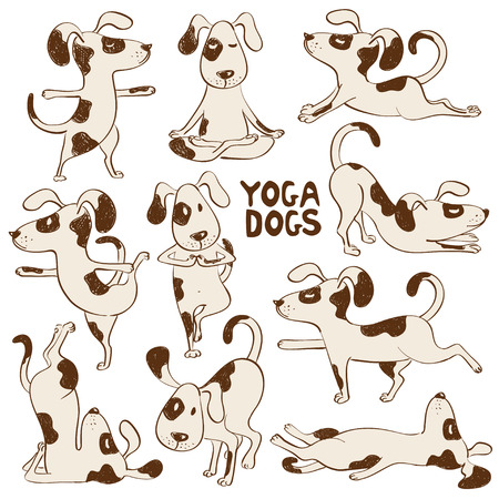 Set of isolated cartoon funny dogs icons doing yoga position. Иллюстрация