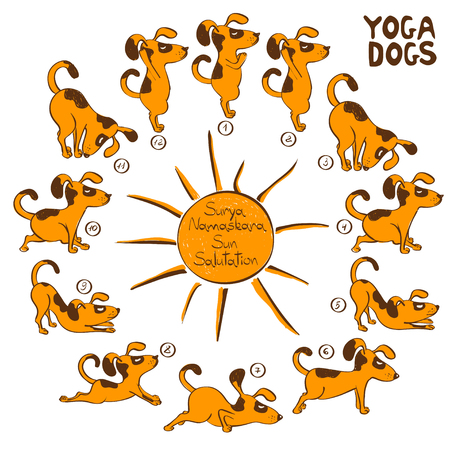 Isolated cartoon funny red dog doing yoga position of Surya Namaskara. Иллюстрация