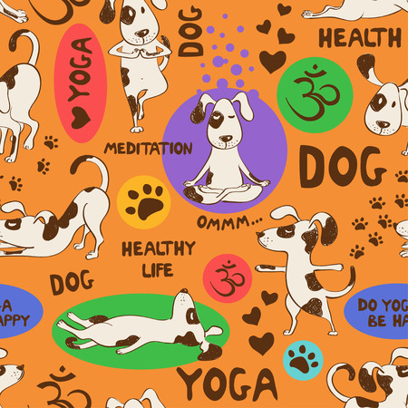 Funny seamless pattern with cartoon dog doing yoga position on an orange background. Healthy lifestyle concept.