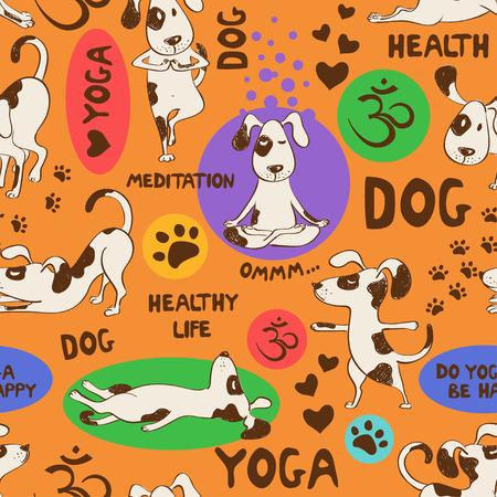 Modelo inconsútil divertido con el perro de la historieta que hace la posición de yoga en un fondo anaranjado. Concepto de estilo de vida saludable. Ilustración de vector