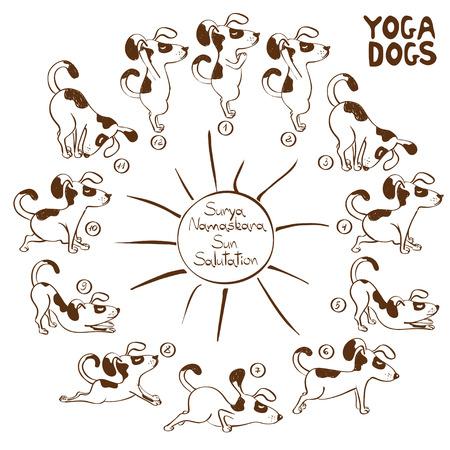 Isolated cartoon funny dog doing yoga position of Surya Namaskara. Vettoriali