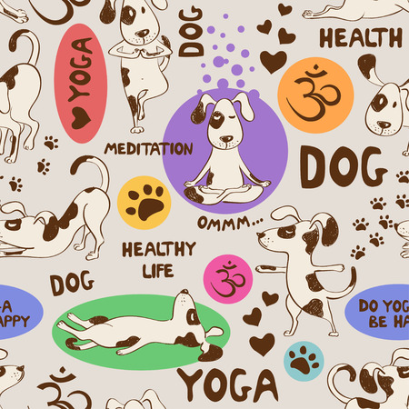 Funny seamless pattern with cartoon dog doing yoga position. Healthy lifestyle concept. Vettoriali