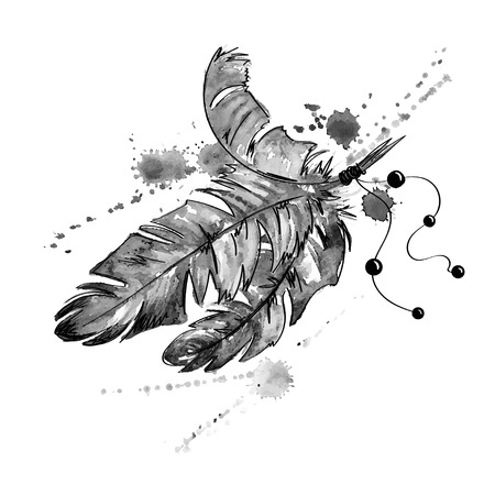 Black and white hand drawn watercolor illustration with bird feathers. Иллюстрация