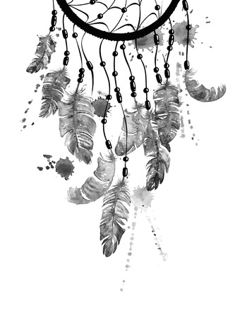Black and white hand drawn watercolor ethnic illustration with American Indians dreamcatcher.