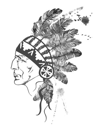 chief: Black and white watercolor illustration with hand drawn Native American Indian chief.