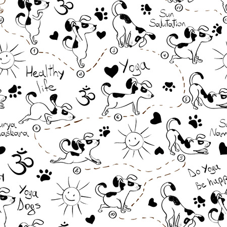 Black and white funny seamless pattern with cartoon dog doing yoga position of Surya Namaskara. Healthy lifestyle concept.