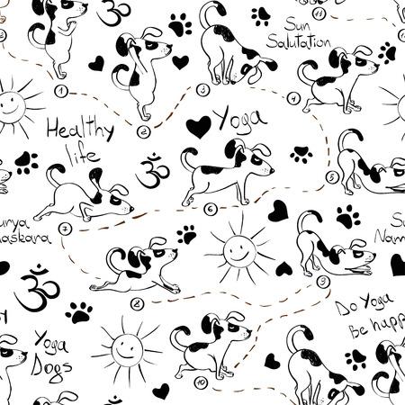 Zwart en wit grappige naadloze patroon met cartoon hond doet yoga positie van Zonnegroet. Gezonde levensstijl concept.
