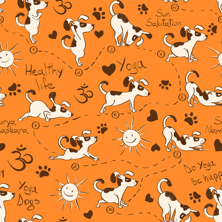 Funny seamless pattern with cartoon dog doing yoga position of Surya Namaskara. Healthy lifestyle concept. Vettoriali