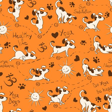 Funny seamless pattern with cartoon dog doing yoga position of Surya Namaskara. Healthy lifestyle concept. Illustration