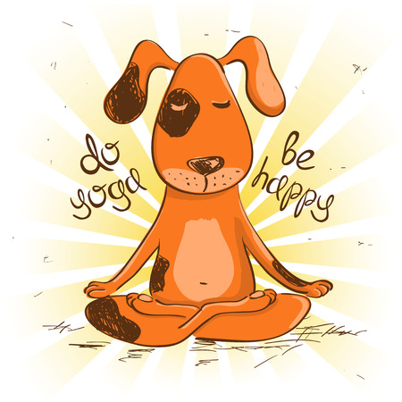 asana: Funny illustration with cartoon red dog sitting on lotus position of yoga.