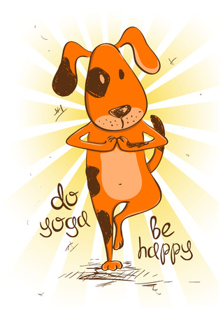 Funny illustration with cartoon red dog doing tree position of yoga.