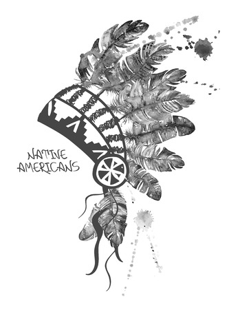 indian headdress: Black and white hand drawn watercolor illustration with Native American Indian chief headdress.
