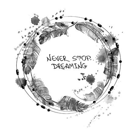 Zwarte en witte hand getekende aquarel illustratie met vogelveren en kralen in de vorm van cirkel. Stock Illustratie