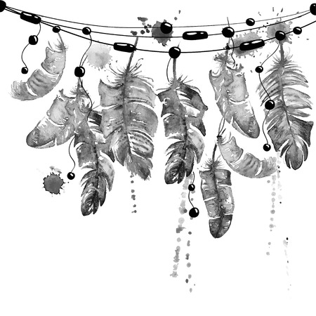 Black and white hand drawn watercolor illustration with hanging bird feathers.