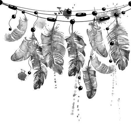 pluma: Mano blanco y negro dibujado ejemplo de la acuarela con colgantes plumas de aves. Vectores