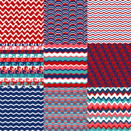 Set of blue, red and white sea wave seamless patterns. Scrapbook design elements. All patterns are included in swatch menu.