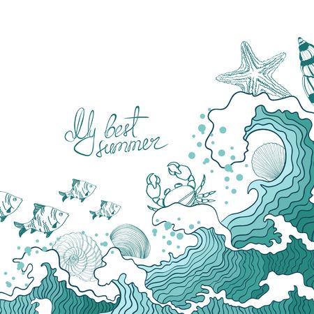 海の波や海洋生物のイラスト。夏のコンセプトです。
