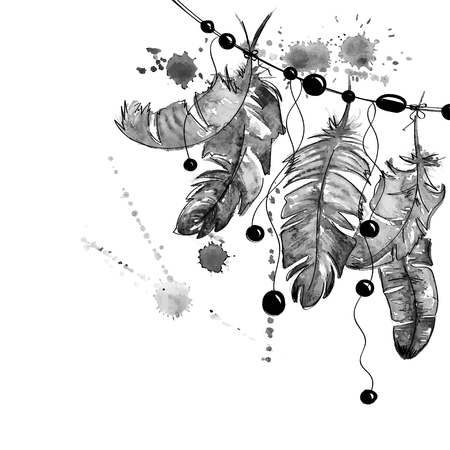 feathery: Black and white hand drawn watercolor illustration with hanging bird feathers. Illustration