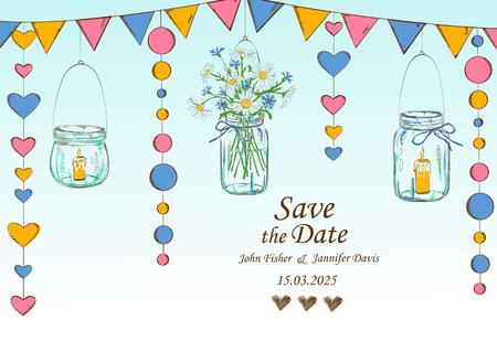 bougie coeur: invitation de mariage avec une décoration rustique de la pendaison Pots Mason, des fleurs, des bougies et des guirlandes. Enregistrer le concept de la date.