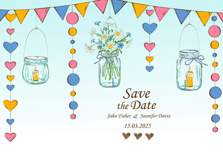 mason: Wedding invitation with rustic decoration of hanging mason jars, flowers, candles and garlands. Save the date concept. Illustration