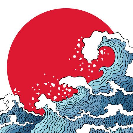 Asian illustration of ocean waves and sun. Japanese design concept. Illustration