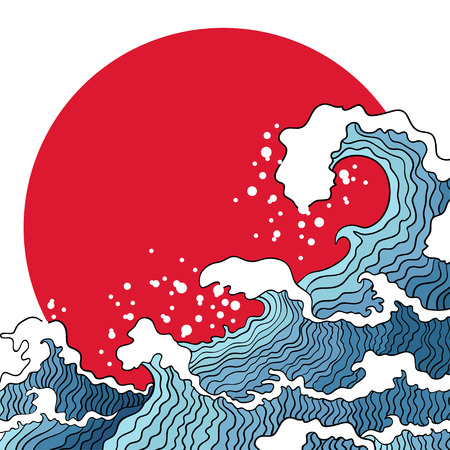 Asian illustration of ocean waves and sun. Japanese design concept. Çizim