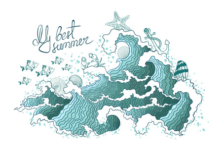 Summer illustration of ocean waves and marine life. Isolated on a white background. Vettoriali