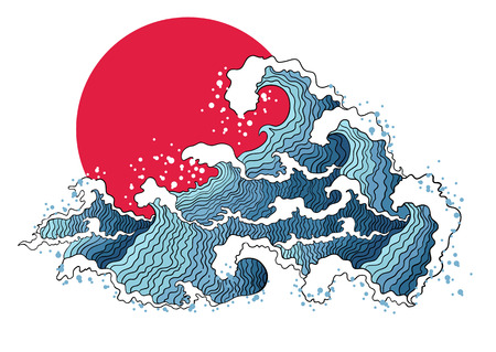 red wave: Asian illustration of ocean waves and sun. Isolated on a white background.