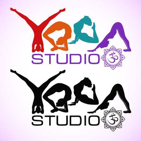 yoga class: Logo of yoga studio in black and colorful variations Illustration