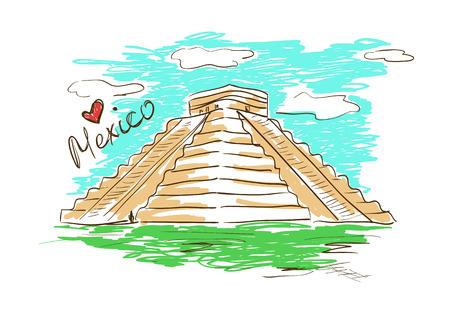 itza: Colorful sketch illustration of Chichen Itza Mayan Pyramid in Mexico