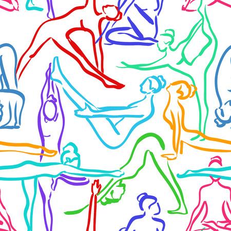 siluetas mujeres: Yoga sin patrón, con coloridos siluetas de mujeres