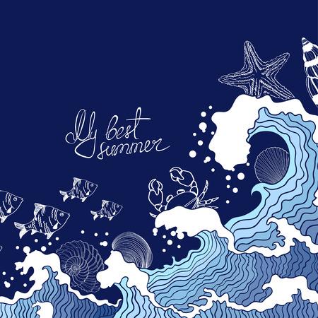 Illustratie van de golven van de zee en het mariene leven Stock Illustratie