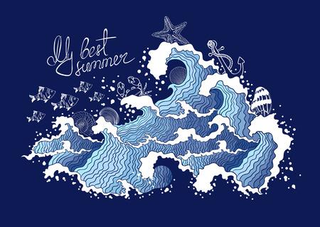 Summer illustration of ocean waves and marine life