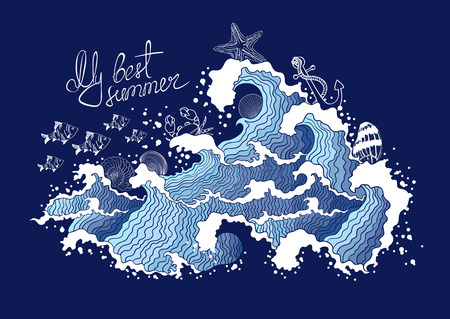 Summer illustration of ocean waves and marine life