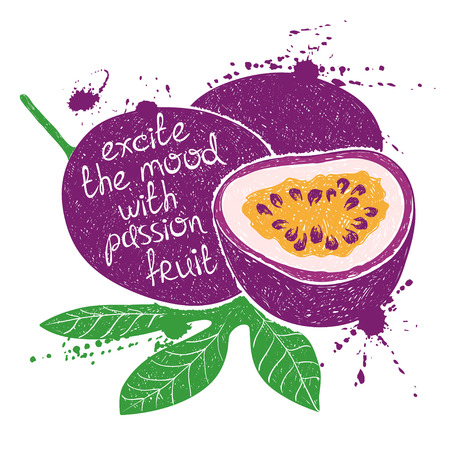 jugo de frutas: Ilustración exhausta de la pasión púrpura aislado de frutas sobre un fondo blanco Vectores