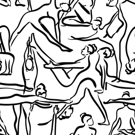 body slim: Yoga seamless pattern with black silhouettes of women on a white background Illustration