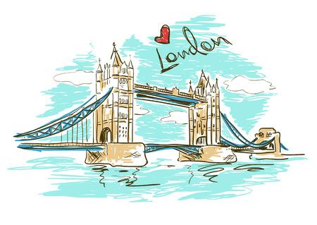 tower bridge: Colorful sketch illustration of Tower Bridge in London