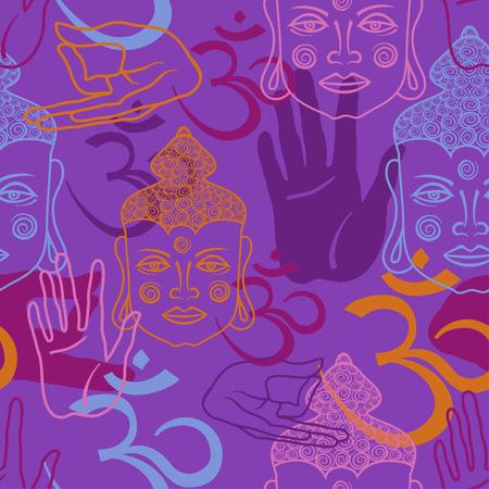 Seamless pattern of Buddha face Illustration