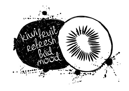 slogan: Hand drawn illustration of isolated black kiwi fruit silhouette on a white background. Typography poster with creative slogan.