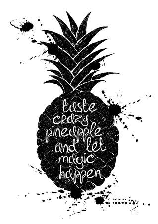 frutas divertidas: Dibujado a mano ilustración de la silueta aislado negro piña sobre un fondo blanco. Cartel de la tipografía con el lema creativo.