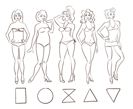 type: Sketch cartoon set of isolated female body shape types. Round (apple), triangle (pear), hourglass, rectangle and inverted triangle body types.