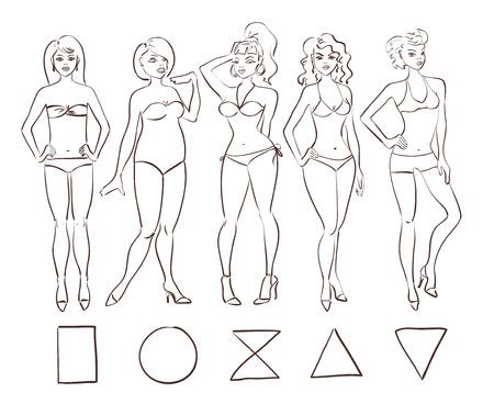 Szkic cartoon zestaw pojedynczych typów kobiecych kształtów ciała. Okrągły (jabłko), trójkąt (gruszka), klepsydra, prostokąt i trójkąt odwrócony rodzaje nadwozia. Ilustracje wektorowe