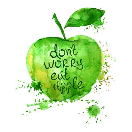 manzana: Acuarela dibujado a mano ilustración de la silueta aislado manzana sobre un fondo blanco. Cartel de la tipografía con el lema creativo.
