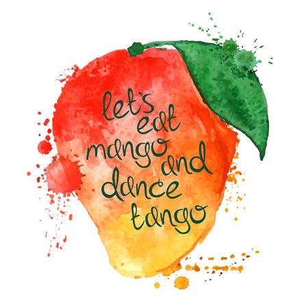 mango: Akwarele ręcznie rysowane ilustracji pojedyncze owoce mango sylwetka na białym tle. Typografia plakat z twórczego hasłem.