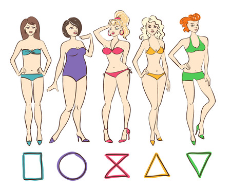 types: Colorful cartoon set of isolated female body shape types. Round (apple), triangle (pear), hourglass, rectangle and inverted triangle body types. Illustration
