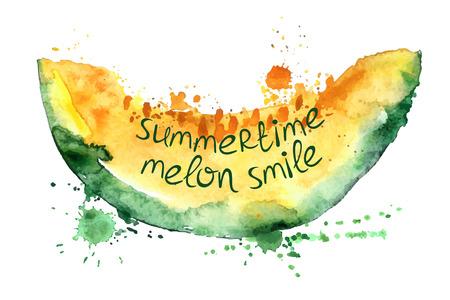 白い背景の上のメロンの孤立したスライスを水彩の手描きイラスト。創造的なスローガンとタイポグラフィ ポスター。