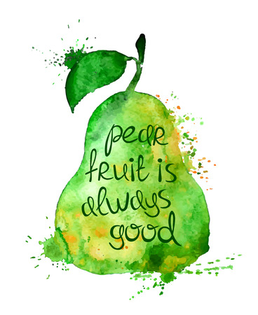 slogan: Watercolor hand drawn illustration of isolated pear fruit silhouette on a white background. Typography poster with creative slogan. Illustration