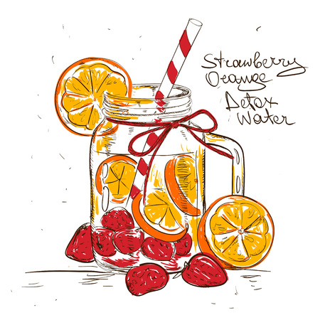 detox: Hand drawn sketch illustration with Strawberry Orange detox water. Healthy lifestyle concept.