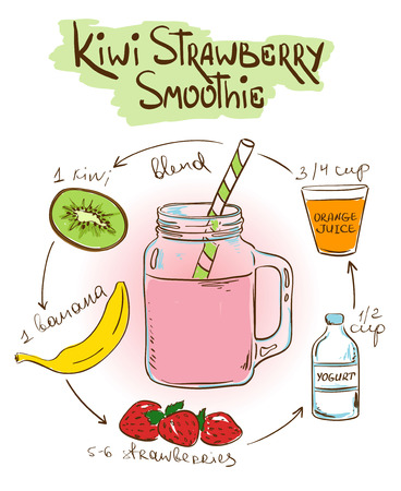 recipe background: Hand drawn sketch illustration with Kiwi Strawberry smoothie. Including recipe and ingredients for restaurant or cafe. Healthy lifestyle concept. Illustration