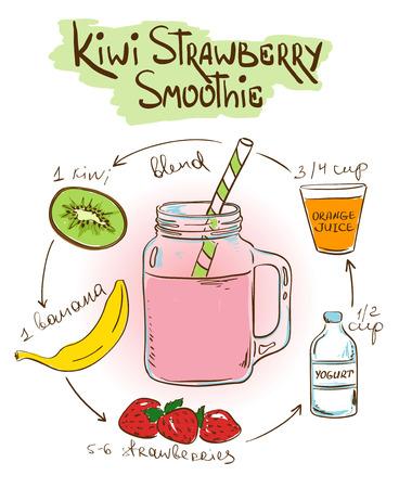 Hand getrokken schets illustratie met Kiwi Strawberry smoothie. Inclusief recept en ingrediënten voor restaurant of café. Gezond levensstijlconcept. Stockfoto - 42081386